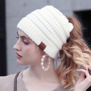 C.C Soft Knit White Ponytail (Messy Bun) Beanie